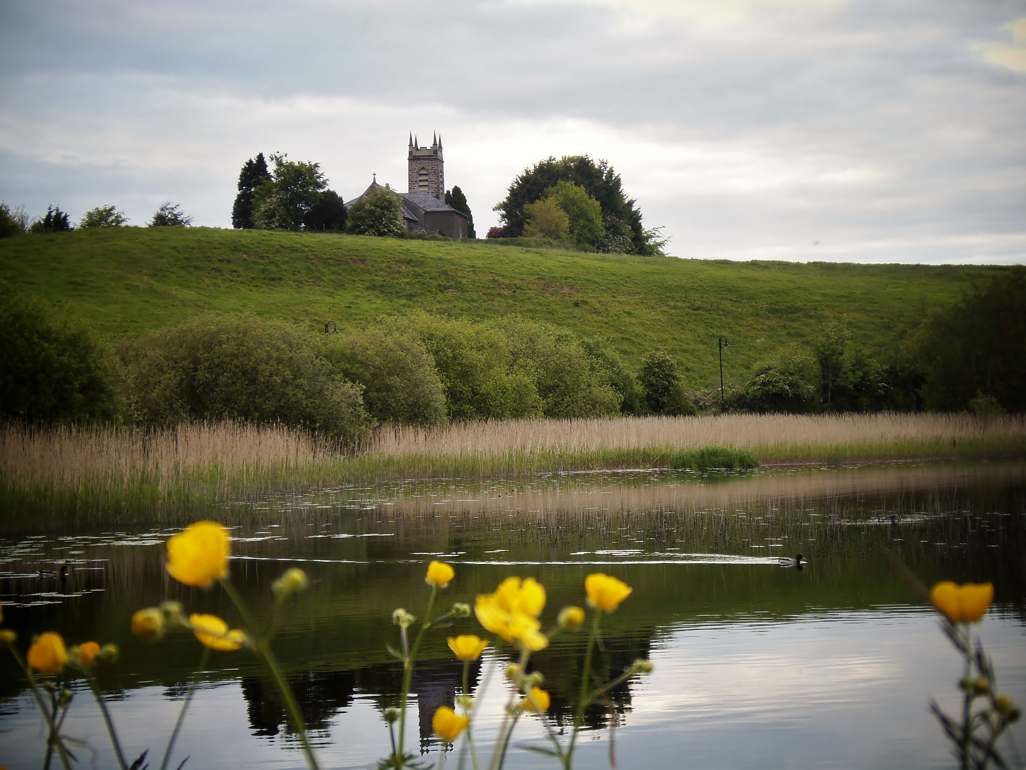 Lough Major and Church of Ireland at Daytime